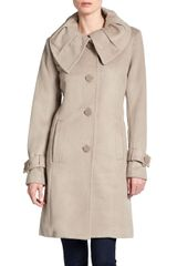 Badgley Mischka Kate Leather Trim Handstitch Coat - Lyst