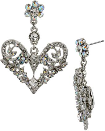 Betsey Johnson Crystal Heart Drop Earrings - Lyst