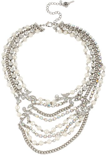 Betsey Johnson Faux Crystal Pearl Multirow Necklace - Lyst