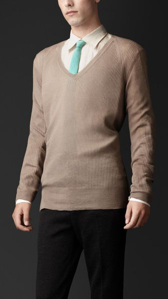 Burberry Cashmere Silk Vneck Sweater - Lyst