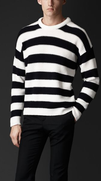 Burberry Striped Cashmere Cotton Sweater - Lyst