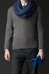 Burberry Engineered Cashmere Vneck Sweater - Lyst