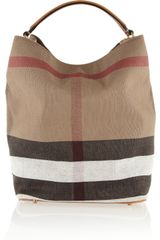 Burberry Shoes & Accessories Checked Canvas Hobo Bag - Lyst