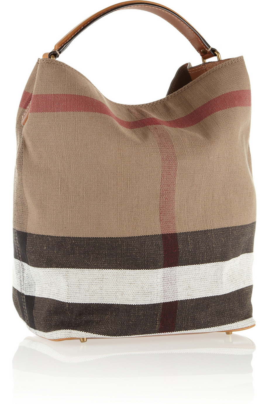 burberry checked canvas hobo bag in brown lyst