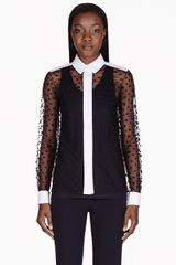 Chloé Navy Polka Dot Mesh Layered Blouse - Lyst