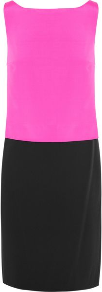 DKNY Colorblock Stretch-silk and Crepe Dress - Lyst