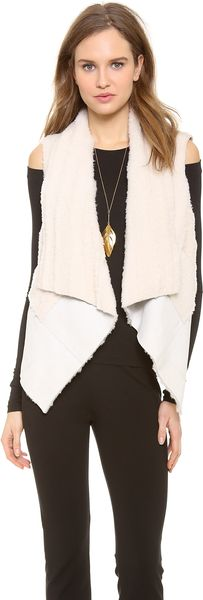 Donna Karan New York Ribbed Shearling Vest - Lyst