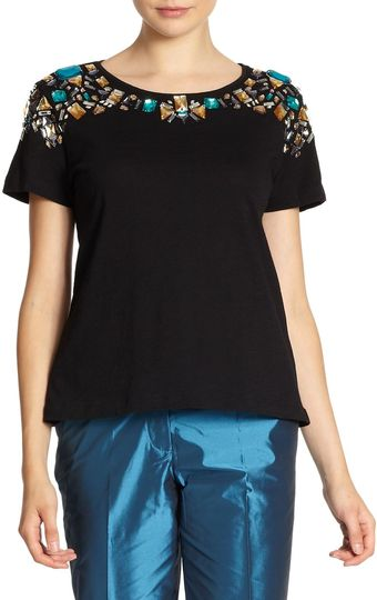 Elizabeth And James Victoria Embellished Cotton Tee - Lyst