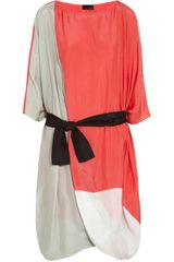 Fendi Oversized Colorblock Silk Dress
