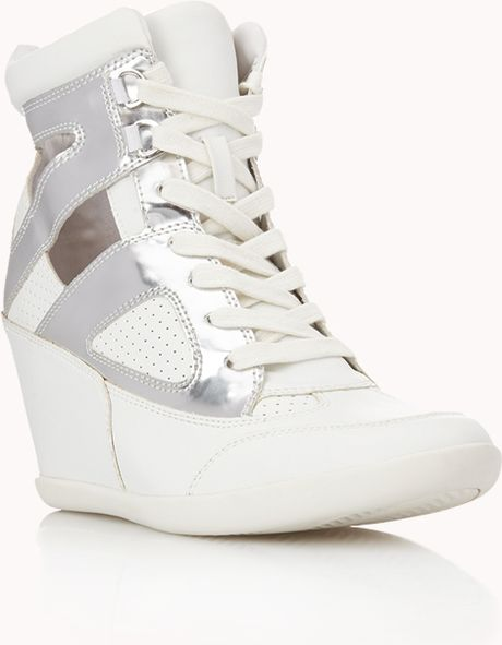 Forever 21 Clear Cut Wedge Sneakers In White White Silver