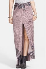 Free People Print Draped Knit Column Skirt - Lyst