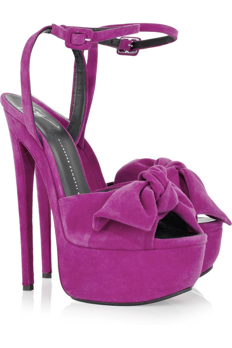 Giuseppe Zanotti Suede Bow Platform Sandals In Purple