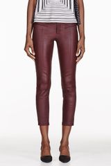 Helmut Lang Oxblood Cropped Stretch Leather Plonge Leggings - Lyst