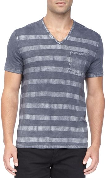 John Varvatos Striped Slubknit Vneck Tee Blue - Lyst