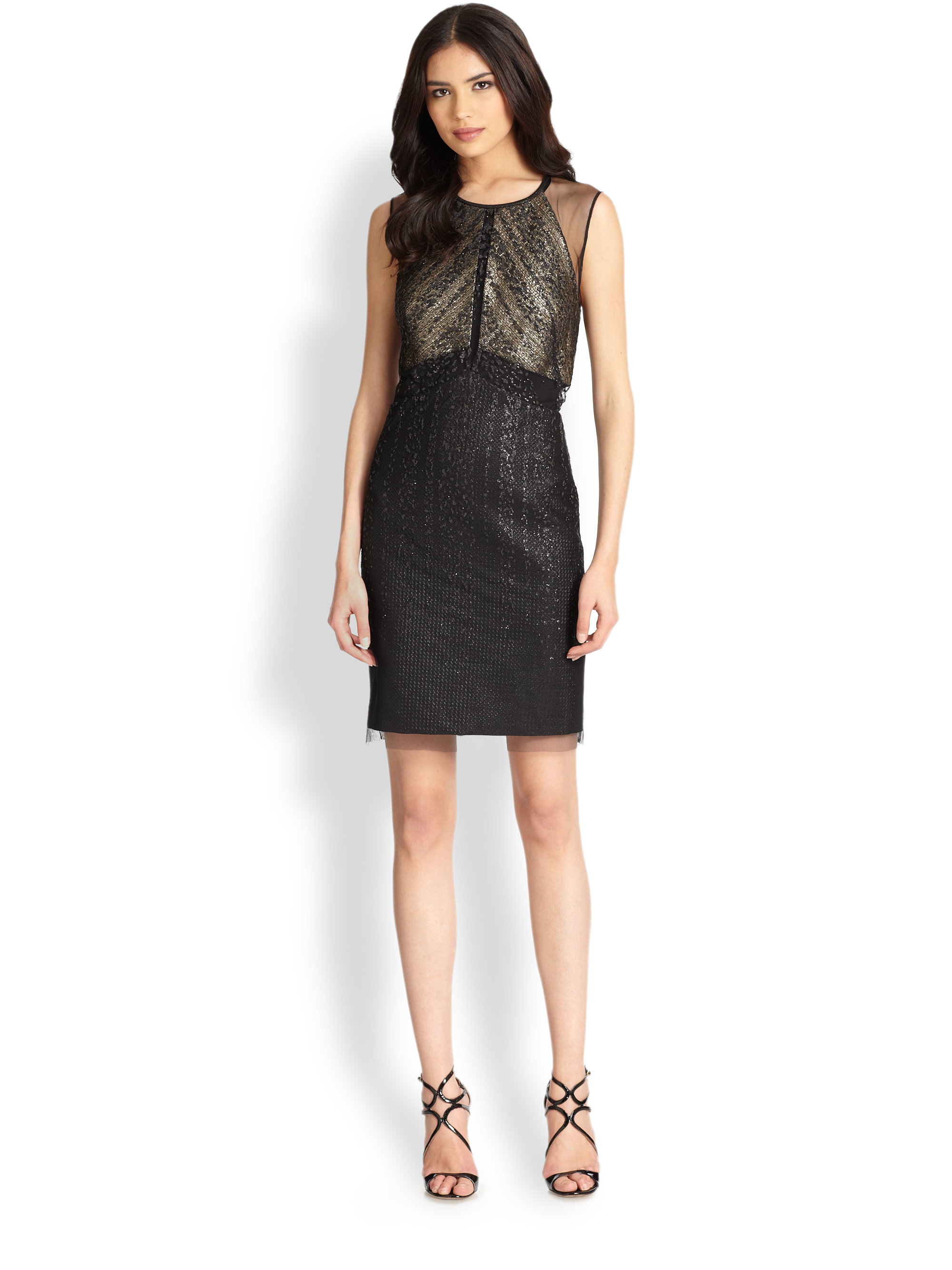 Lyst - Kay Unger Metallic Cocktail Dress in Black
