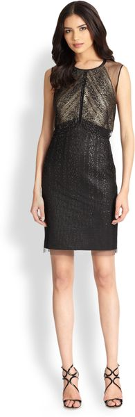 Kay Unger Metallic Cocktail Dress - Lyst
