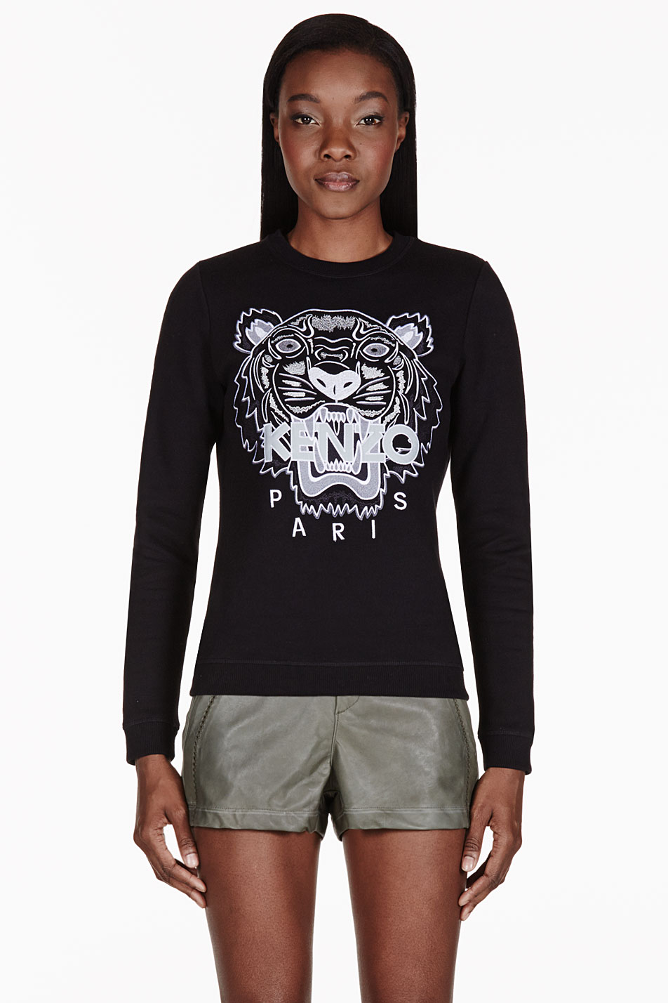 kenzo black embroidered tiger sweater in black lyst