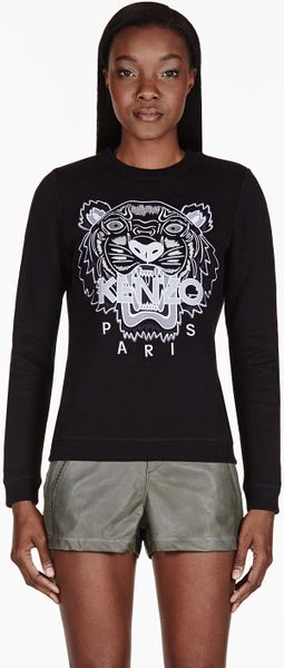 Kenzo Black Embroidered Tiger Sweater - Lyst
