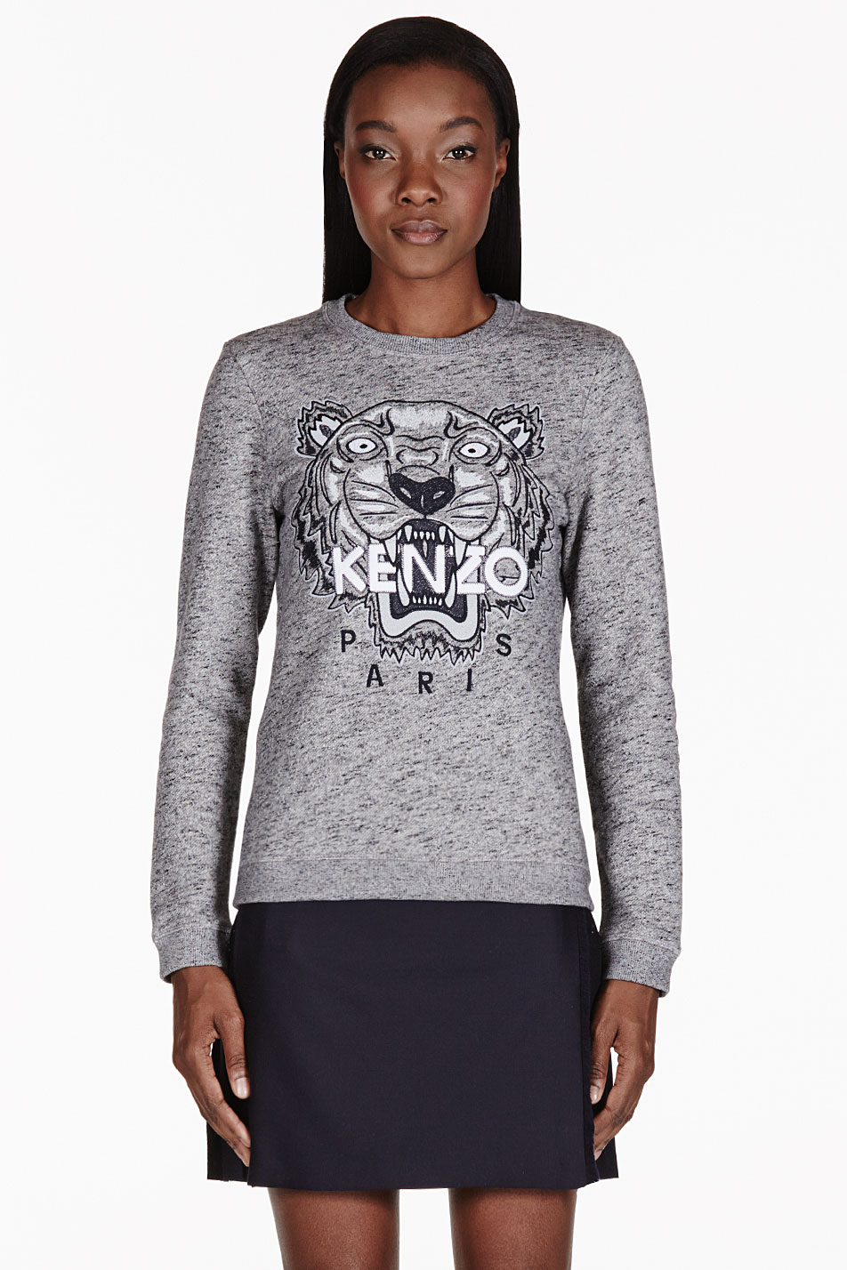 9f17858b KENZO Grey Melange Embroidered Tiger Sweater in Gray - Lyst