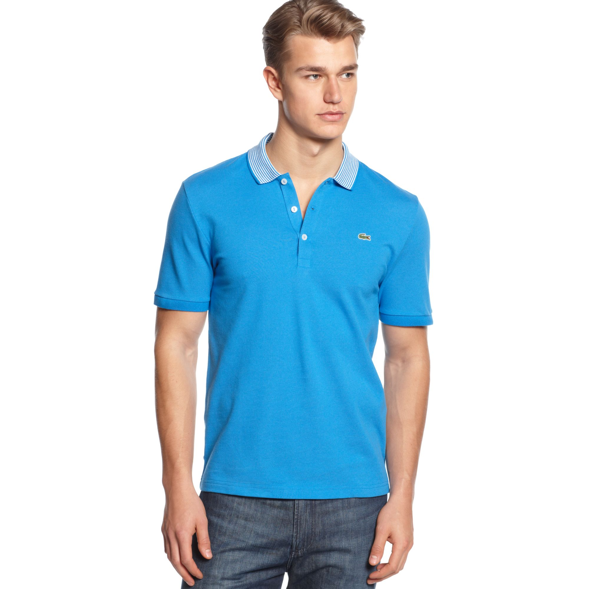 Lacoste short sleeve pique stripe polo shirt in blue for for Lacoste stripe pique polo shirt