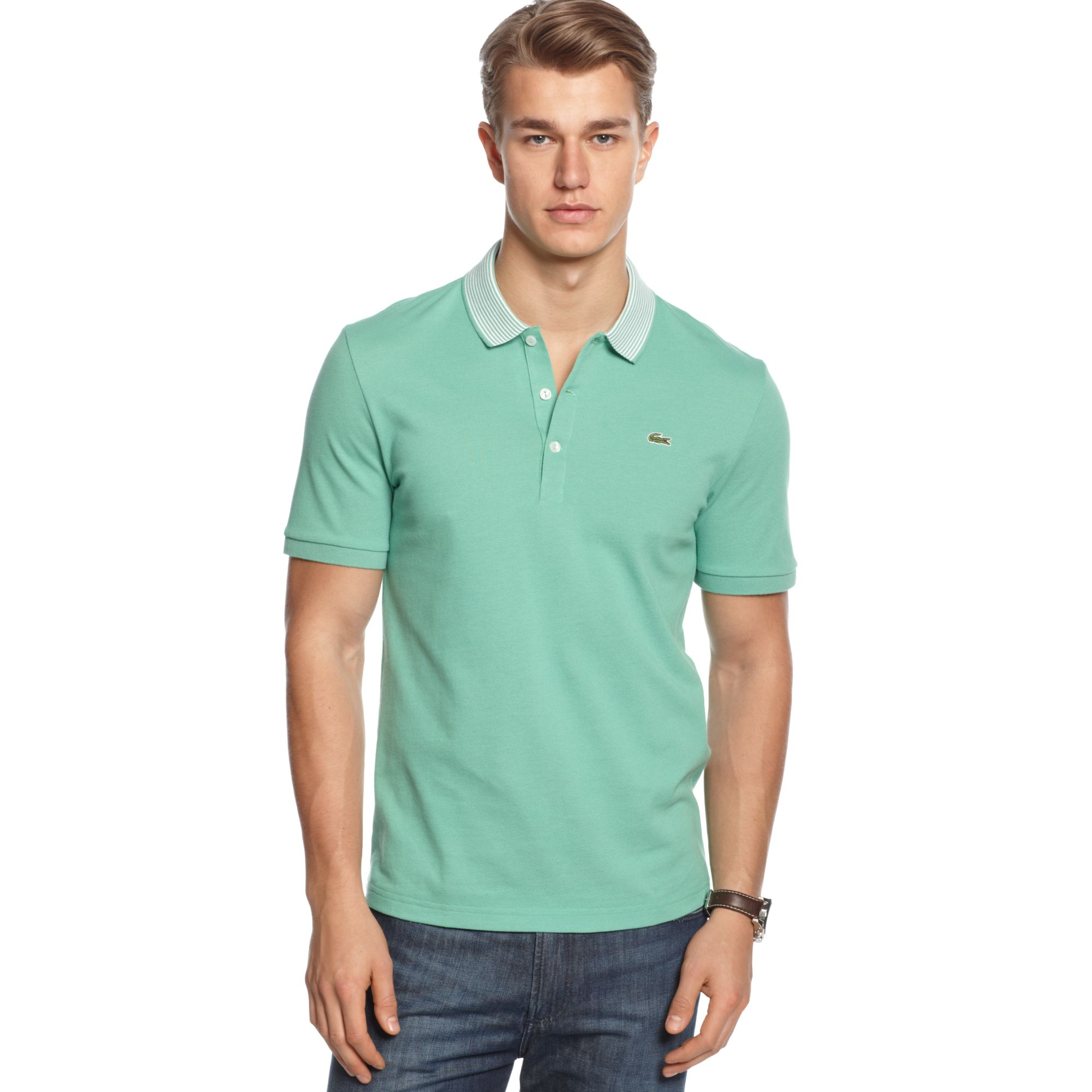 Lacoste short sleeve pique stripe polo shirt in green for for Lacoste stripe pique polo shirt