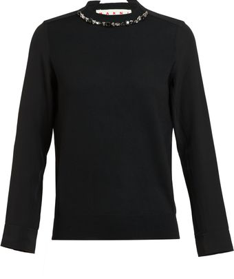 Marni Studded Collar Woolsilk Knit Top - Lyst