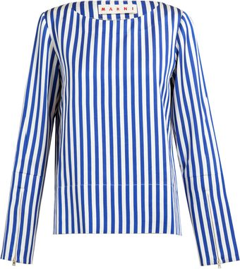 Marni Striped Satin Top - Lyst