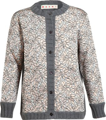 Marni Wool and Floral Brocade Cardigan - Lyst
