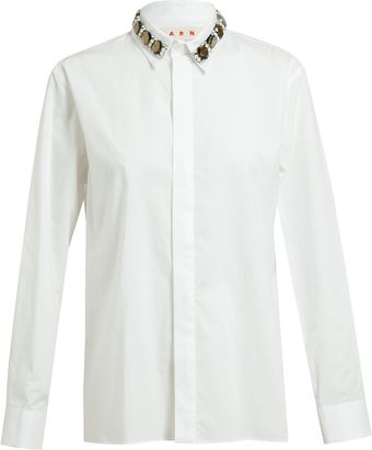 Marni Embellished Cotton Shirt - Lyst