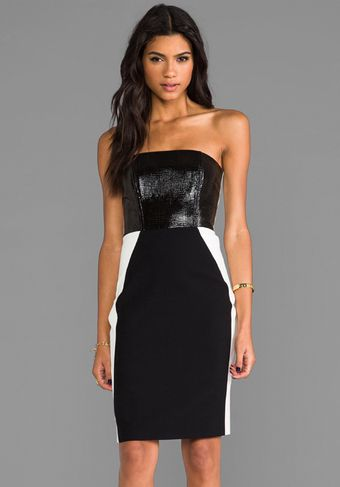 Mason by Michelle Mason Laser Leather Bustier Dress in Black - Lyst