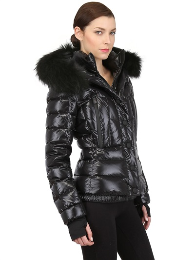 Lyst Moncler Grenoble Beaver Fur Hood Shiny Nylon Down