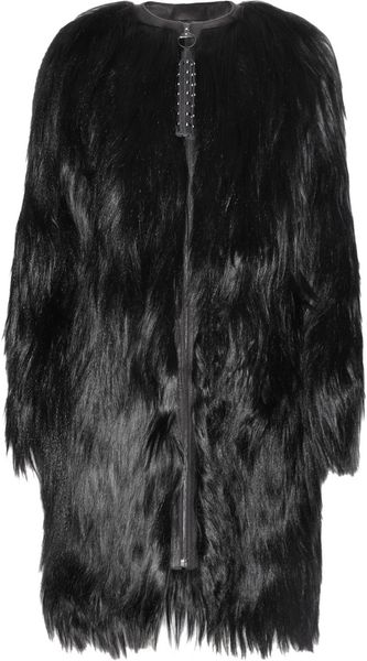 Mulberry Mongolian Goat Hair and Leather Coat in Black