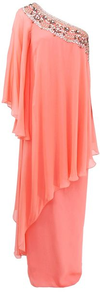 Notte By Marchesa One Shoulder Embroidered Caftan - Lyst