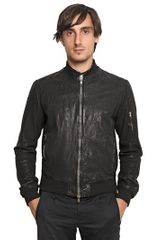 Officine Creative Washed Leather Bomber Jacket - Lyst