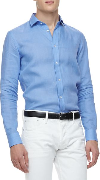 Ralph Lauren Black Label Linen Longsleeve Shirt Light Blue - Lyst
