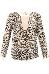 Rebecca Taylor Tigerprint Silk Top - Lyst