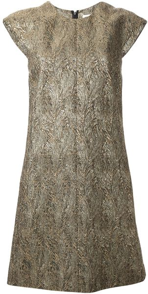 Saint Laurent Bead Embellished Shift Dress - Lyst