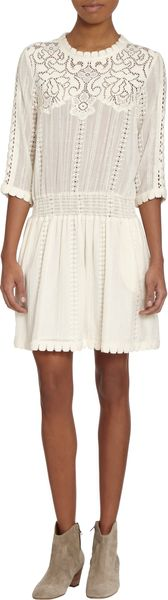 Sea Three quarter Length Sleeve Eyelet Dress - Lyst
