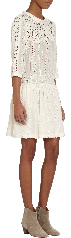 d8dee45196cf Lyst - Sea Three quarter Length Sleeve Eyelet Dress in White