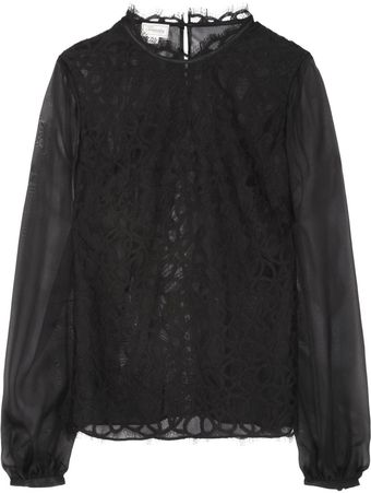Temperley London Lily Silk-chiffon and Lace Top - Lyst