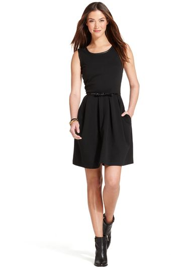 Tommy Hilfiger Sleeveless Pleathertrim Belted A-line Dress - Lyst