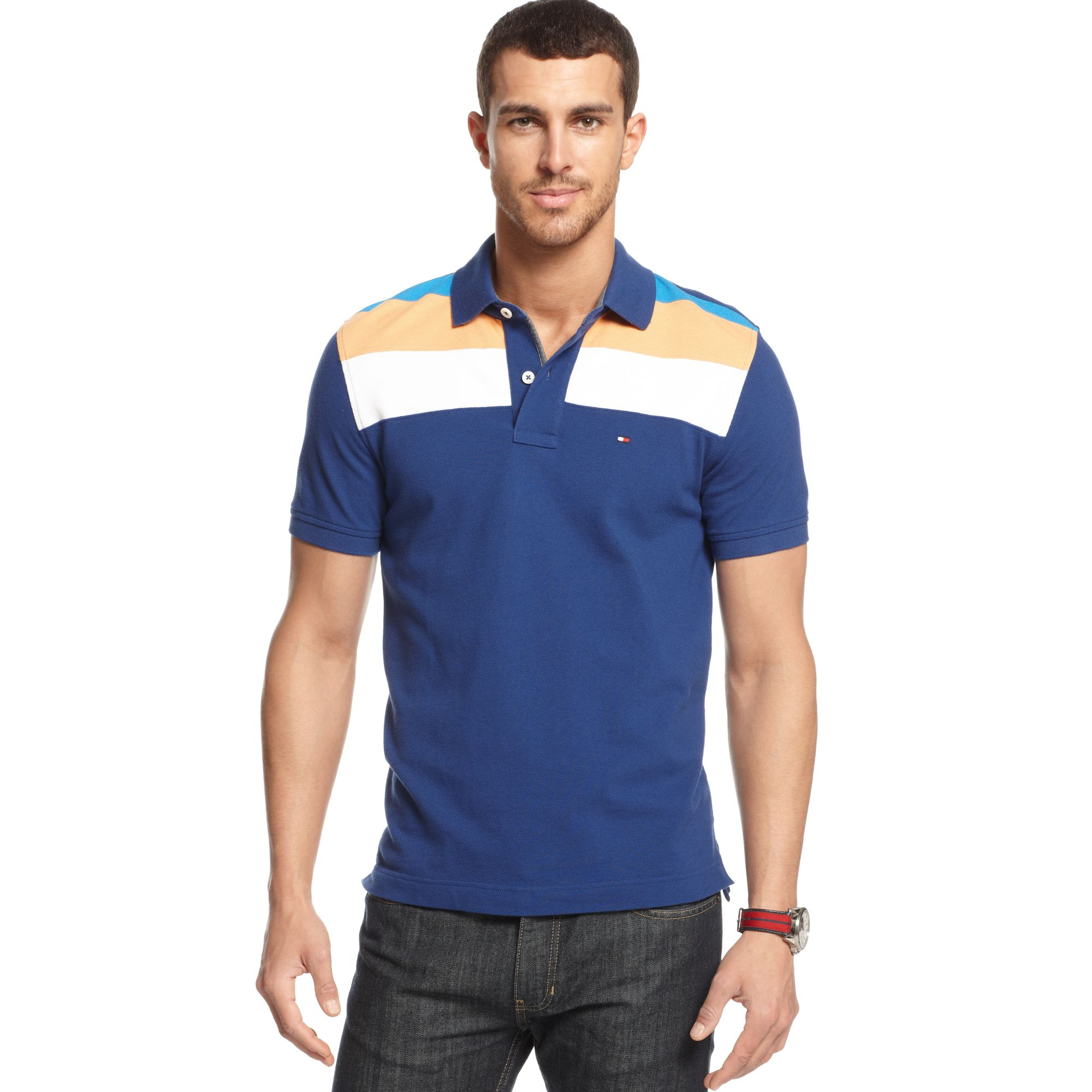 lyst tommy hilfiger slim fit marco polo shirt in blue. Black Bedroom Furniture Sets. Home Design Ideas