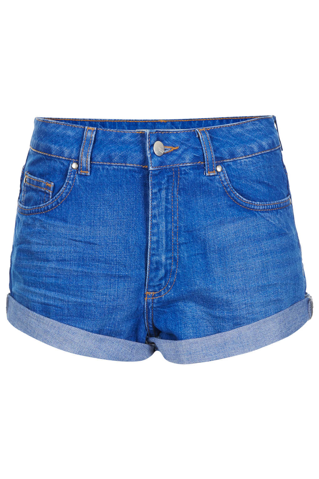 Lyst topshop moto high waisted denim shorts in blue for Womens denim shirts topshop