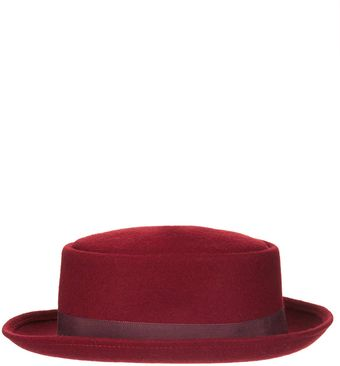 Topshop Rolled Edge Flat Top Hat - Lyst