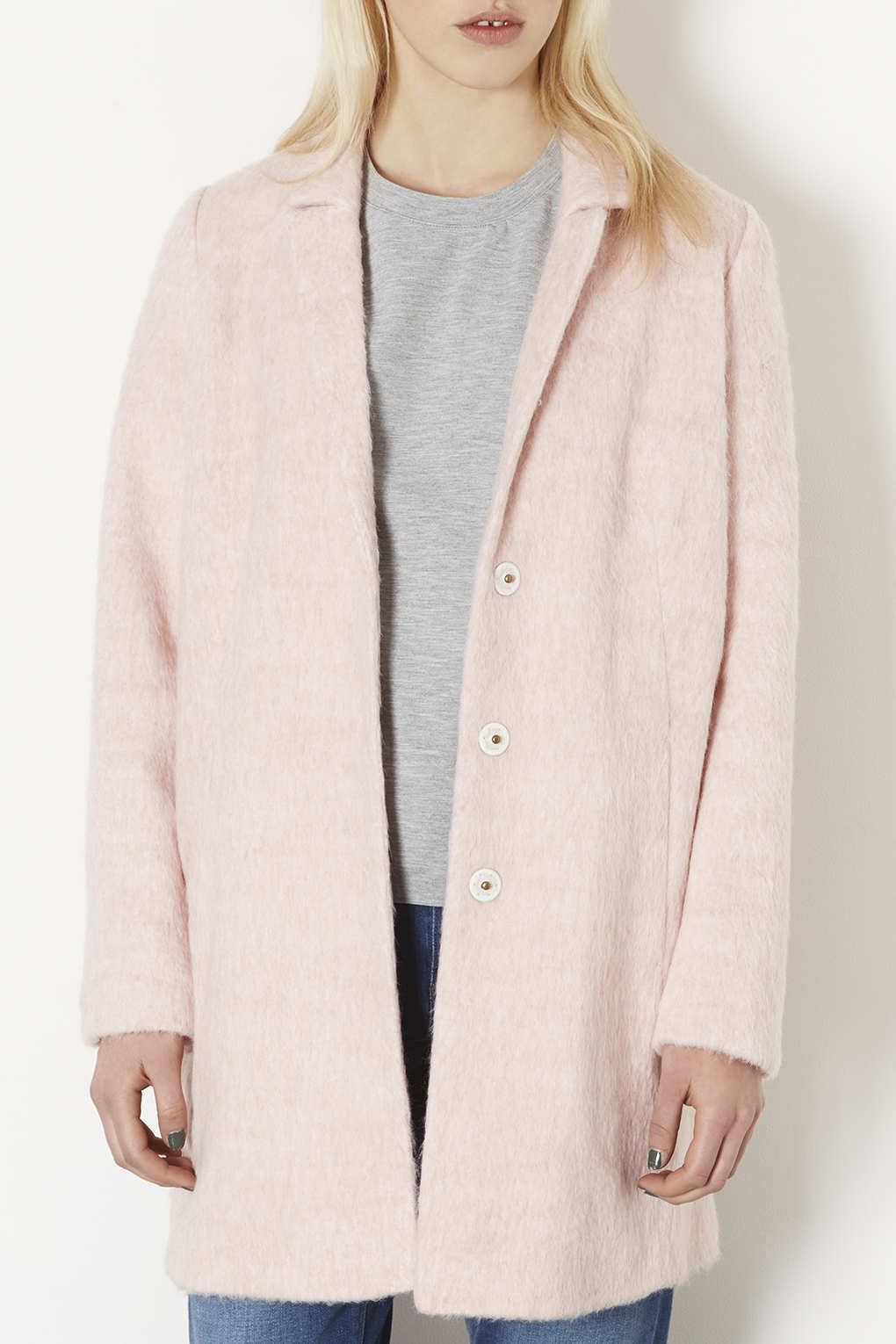 Topshop Tall Fluffy Swing Coat in Pink | Lyst