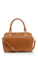 Tory Burch Robinson Perforated Middy Satchel - Lyst