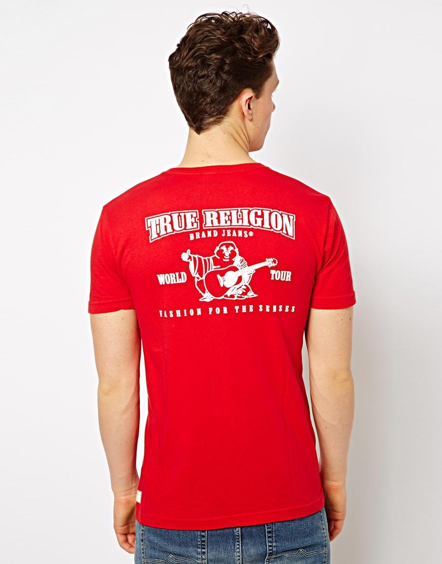 lyst true religion t shirt puff logo back print in red. Black Bedroom Furniture Sets. Home Design Ideas