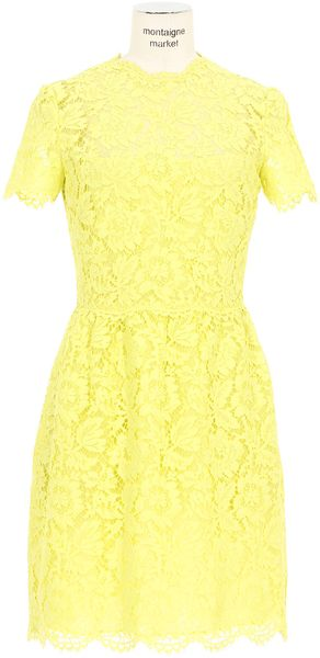 Valentino Neon Yellow Lace Flared Dress - Lyst