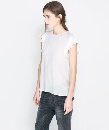 Zara Ruffle Sleeve Blouse 35