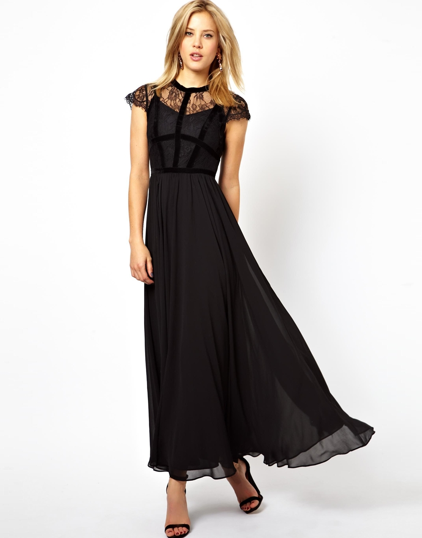 Lyst Asos Exclusive Maxi Dress With Lace Top And Velvet